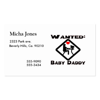 Baby Daddy Wanted Double-Sided Standard Business Cards (Pack Of 100)