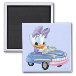 Square Magnet with Baby Daisy Duck driving a car design