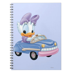 Photo Notebook (6.5' x 8.75', 80 Pages B&W) with Baby Daisy Duck driving a car design