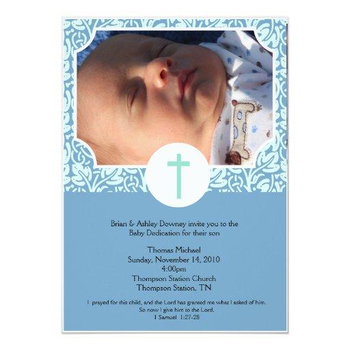 Baby Dedication BOY Baptism Photo Invitation 5x7