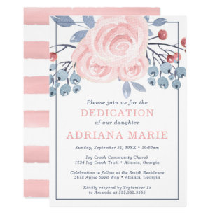 Baby Dedication Invitation Baptism Flowers