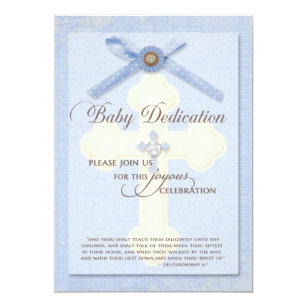 Baby Dedication Invitation Blue W Cross Ribbo