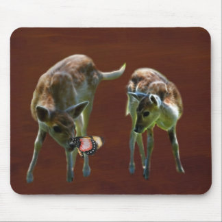 Baby Deer and butterfly Mouse Pad