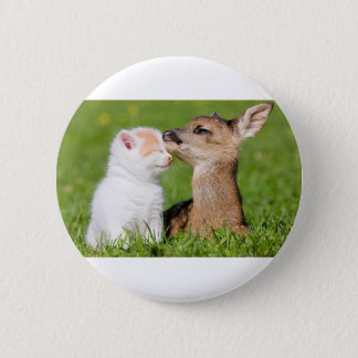 Baby Deer and Kitten Cuddle Pinback Button