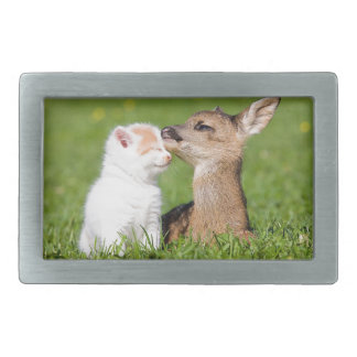 Baby Deer and Kitten Cuddle Rectangular Belt Buckle