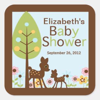 Baby Deer Boy Baby Shower Invitation Square Sticker