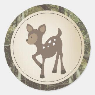 Baby Deer Camo Baby Shower Classic Round Sticker