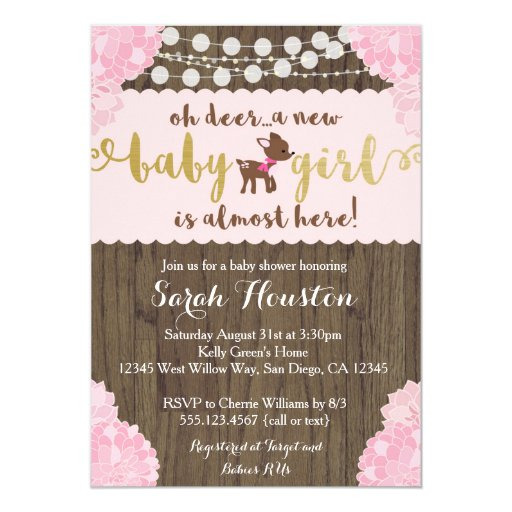 Baby Deer Doe Rustic Girl Shower Invitation