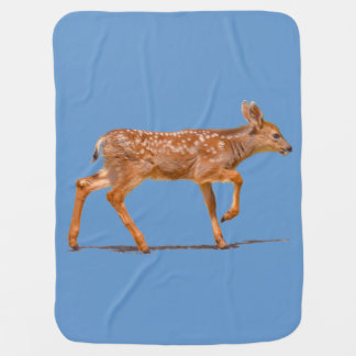 Baby Deer Fawn Walking - Photo Receiving Blanket