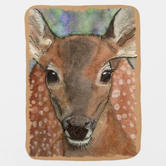 Baby Deer Fawn Watercolor Art Receiving Blanket