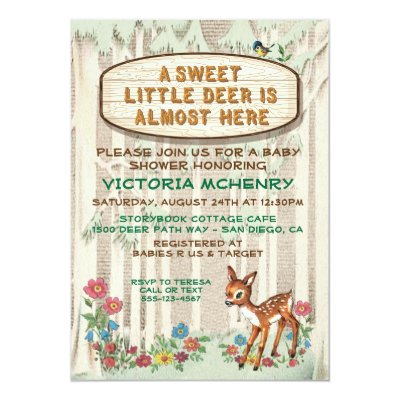 vintage woodland deer antler baby shower card | zazzle,
