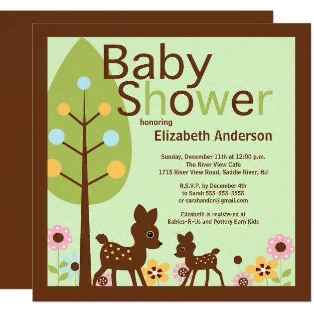 Baby Deer Gender Neutral Baby Shower Invitation Zazzle
