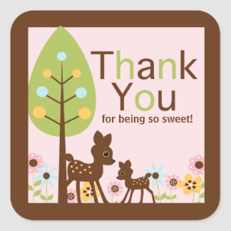 Baby Deer GIRL Baby Shower Invitation Square Sticker