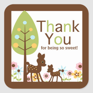 Baby Deer Neutral Baby Shower Invitation Square Sticker