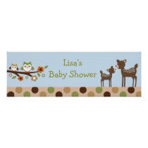 Baby Deer Owl Forest Personalized Banner Sign Poster