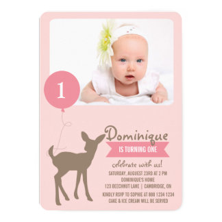 Baby Deer   Pink Photo Kids Birthday Invitation