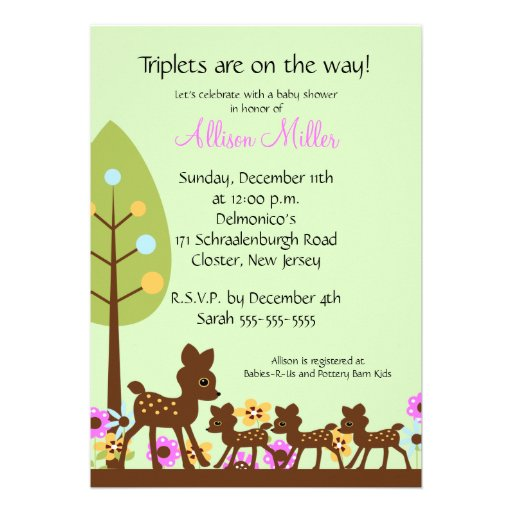 baby deer triplets baby shower invitation 5 x 7 invitation card