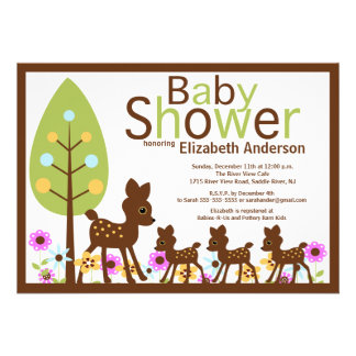 Baby Deer Triplets Multiple Baby Shower Personalized Invitations