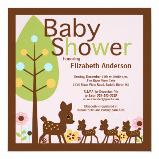Baby Deer Triplets Multiple Baby Shower Invitation