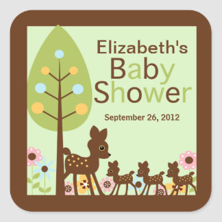 Baby Deer Triplets Multiple Baby Shower Invitation Square Sticker