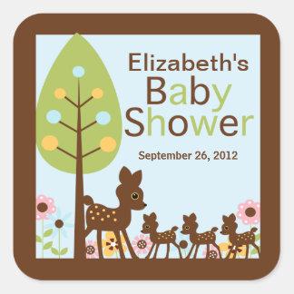 Baby Deer Triplets Multiple Baby Shower Invitation Square Sticker