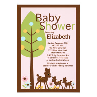 Baby Deer Twins Girl Baby Shower Invitation