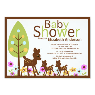 Baby Deer TWINS Multiple  Baby Shower Invitation