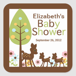 Baby Deer Twins Multiple Baby Shower Invitation Square Sticker