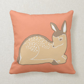Baby Deer Warm Coral Pillow
