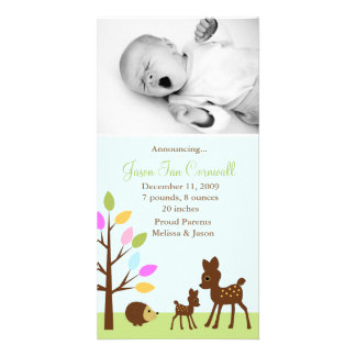 Baby Deer Woodland Photo Birth Announcements