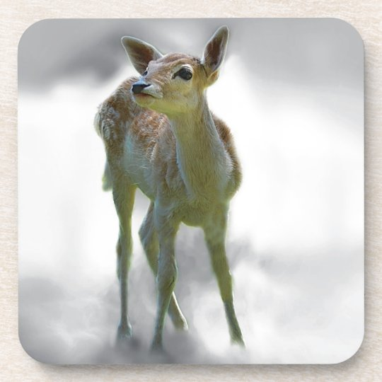 Baby deer's curiosity drink coaster