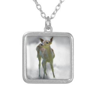 Baby deer's curiosity silver plated necklace