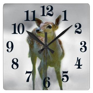 Baby deer's curiosity square wall clock