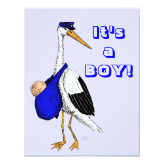 Baby Delivery Stork Birth Announcement Card