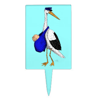 Baby Delivery Stork Cake Topper - Boy