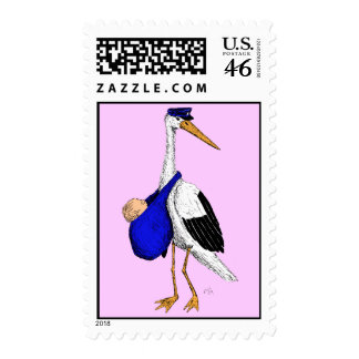 Baby Delivery Stork Stamps -- Pink