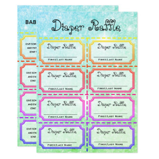 Baby Diaper Raffle Tickets Card