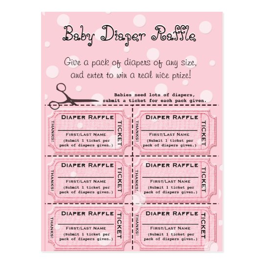 baby diaper raffle tickets postcard