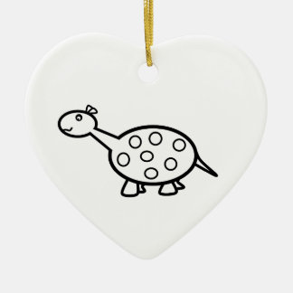 baby dino Double-Sided heart ceramic christmas ornament