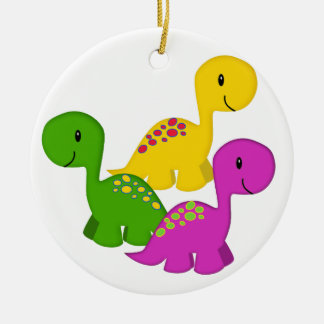 Baby Dino Triplets Ceramic Ornament