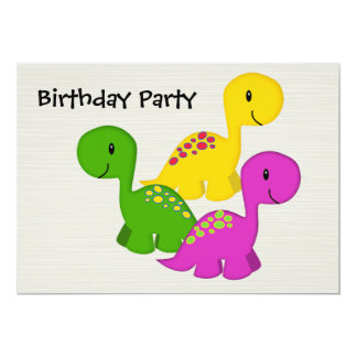 "Baby Dino Triplets 5"" X 7"" Invitation Card"
