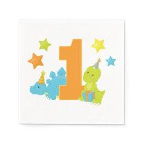 Baby Dinosaur 1st Birthday Napkin