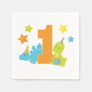 Baby Dinosaur 1st Birthday Napkins