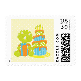Baby Dinosaur and Cake Postage Stamp
