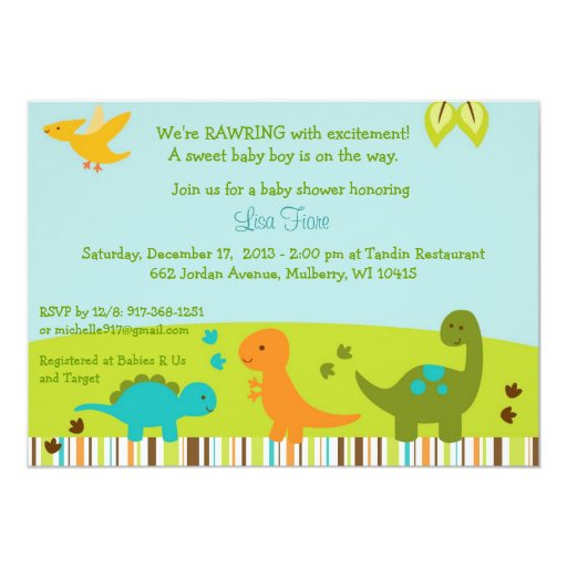 Baby Dinosaur Baby Shower Invitations
