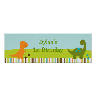 Baby Dinosaur Personalized Banner Sign Poster