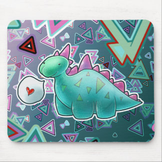Baby Dinosaur Triangle Background Mouse Pad