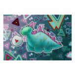 Baby Dinosaur Triangle Background Print