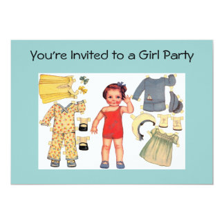 Baby Doll Paper Doll Invitations