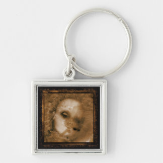 BABY DOLL Silver-Colored SQUARE KEYCHAIN